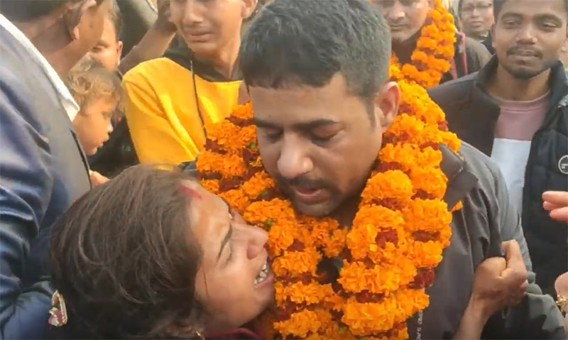 Umesh Yadav of Kamala Municipality, Dhanusha, who was facing death sentence in a Saudi prison, is pictured here after arriving home. Photo: Brij Kumar Yadav/THT