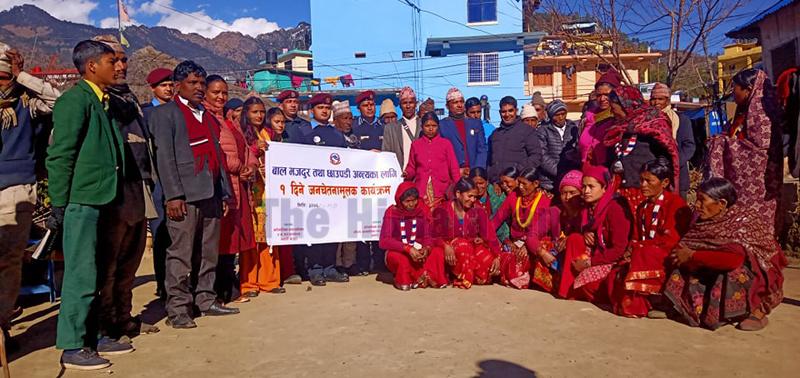 Female activists spreading awareness on 'chhaupadi' in Badimalika Municipality-9, Bajura. Photo: Prakash Singh/THT