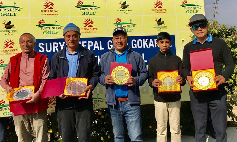 (From left) Prabhakar Adhikari, Bhairaja Panday, Babu Sherpa, Sadbhav Acharya and Wangchen Dhondup pose for a group photo after the Surya Nepal Monthly Medal at the Gokarna Golf Club in Kathmandu on Saturday. Photo: THT