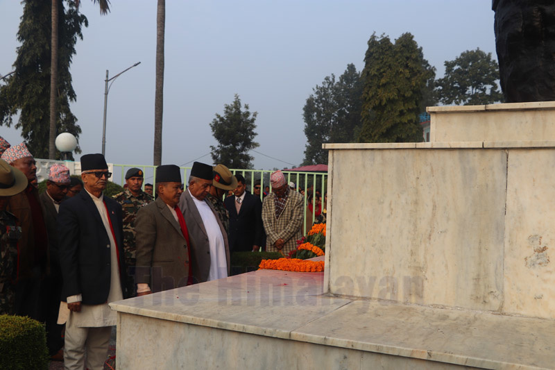 Bagmati Province Governor Bishnu Prasai, Chief Minister Dormani Poudel, and Speaker of the Provincial Assembly Sanu Kumar Shrestha paying tribute to the statues of martyrs, at Sahid Smarak Park, in Hetauda, on Thursday, January 30, 2020. Photo: Prakash Dahal/THT