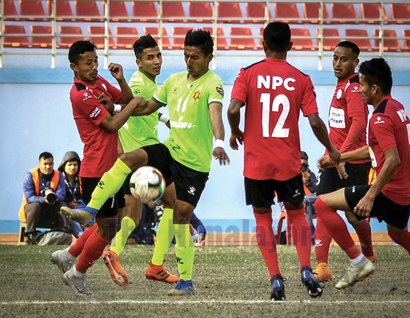TAC striker Nawayug Shrestha controls the ball during the Qatar Airways Martyrs Memorial A Division League match against NPC in Kathmandu on Sunday. Photo: Naresh Shrestha/THT