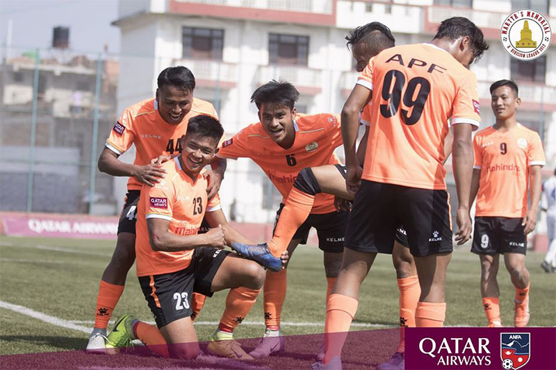 APF players celebrate after scoring a goal against Brigade Youth Club at the ANFA Complex Ground during national league on Thursday, February 13, 2020. Courtesy: ANFA/Facebook