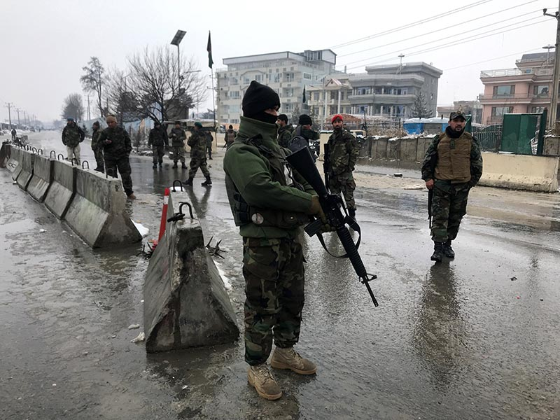 Afghan security forces keep watch at the site of a blast in Kabul, Afghanistan, February 11, 2020. Photo: Reuters