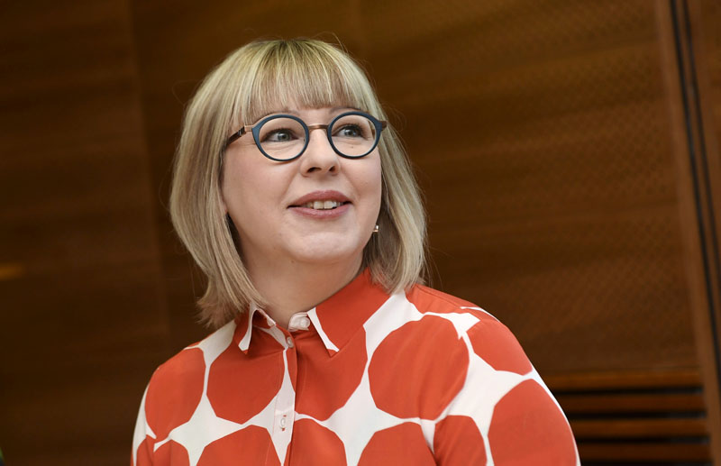 Finland's Minister of Social Affairs and Health Aino-Kaisa Pekonen holds a news conference on the family leave reform in Helsinki, Finland February 5, 2020. Photo: Reuters