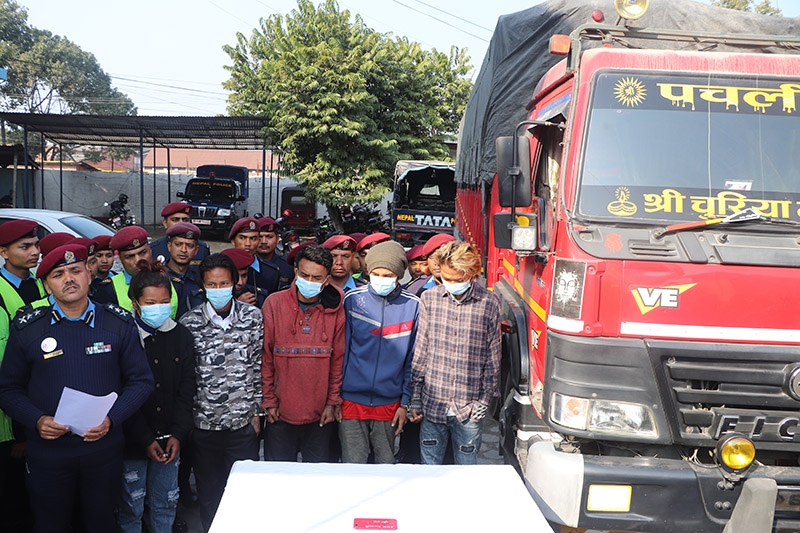 The arrestees involved in the murder of Ajita Bhujel being made public at District Police Office, Makawanpur, on Tuesday, February 4, 2020. Photo: Prakash Dahal/THT