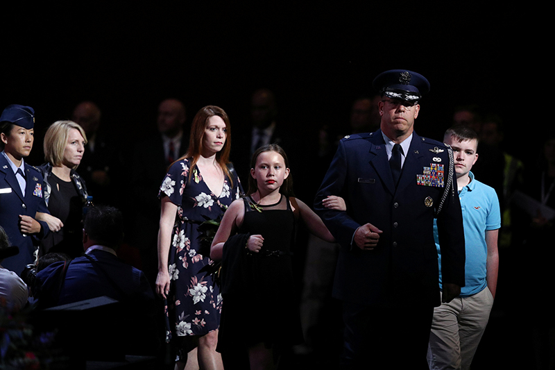 The loved ones of the victims of the Australian bushfires arrive for a state memorial honouring the lives lost at Qudos Bank Arena in Sydney, New South Wales, Australia, February 23, 2020. Photo: Reuters