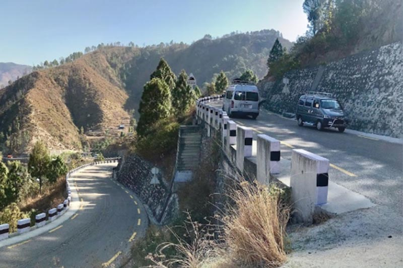 This image shows vehicles plying the road along the BP Highway in Golanjor Rural Municipality-7, Sindhuli district, in March, 2018. Photo courtesy: Anupam Poudel