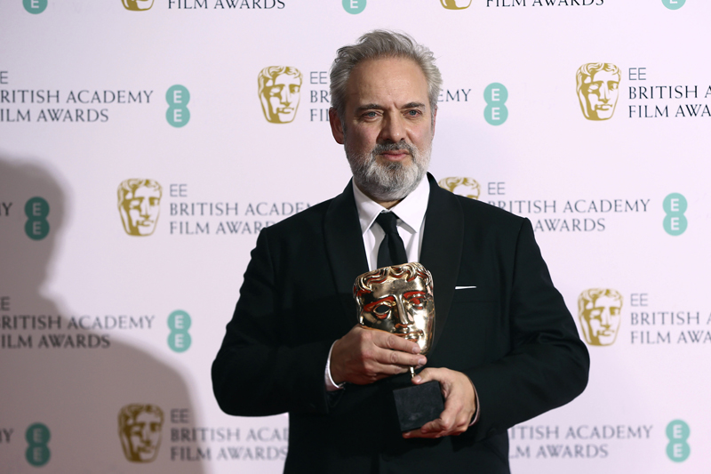 Director Sam Mendes poses with the Best Director award for 1917, backstage at the Bafta Film Awards, in central London, Sunday, Feb 2, 2020. Photo: AP
