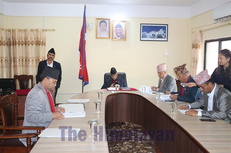 A meeting of Bagmati Province Cabinet under way at the Office of Chief Minister and Council of Ministers, in Hetauda, on Tuesday, February 25, 2020. Photo: THT