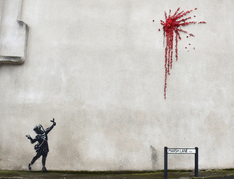A suspected new mural by artist Banksy is pictured in Marsh Lane in Bristol, Britain, February 13, 2020. Photo: Reuters