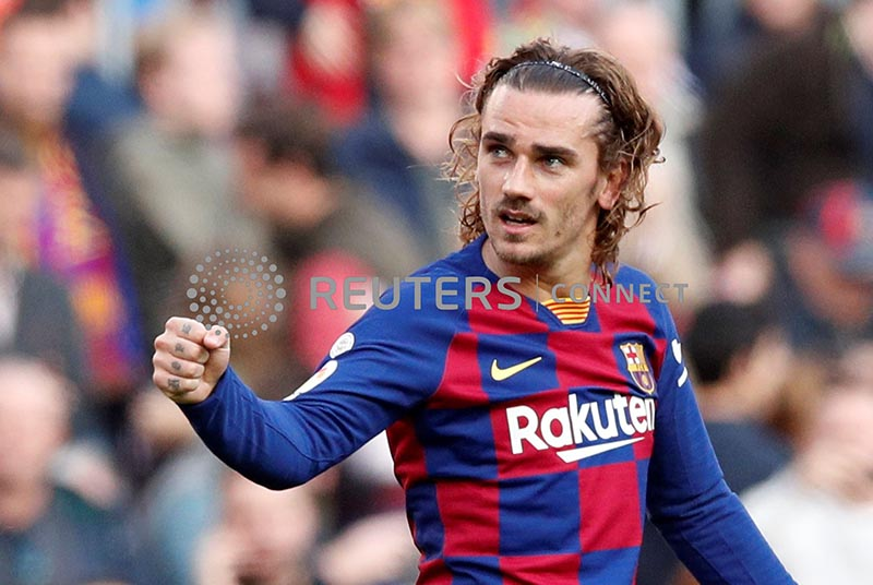 Barcelona's Antoine Griezmann celebrates scoring their first goal during the La Liga Santander match between  FC Barcelona and Getafe, at Camp Nou, in Barcelona, Spain, on February 15, 2020. Photo: Reuters