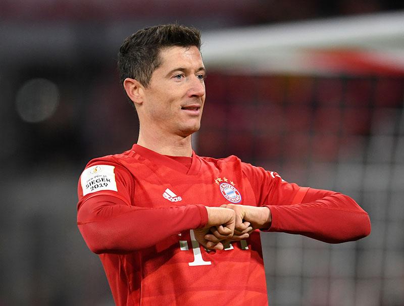 Bayern Munich's Robert Lewandowski celebrates scoring their third goal during the DFB Cup Third Round match between Bayern Munich and TSG 1899 Hoffenheim, at Allianz Arena, in Munich, Germany, on February 5, 2020. Photo: Reuters