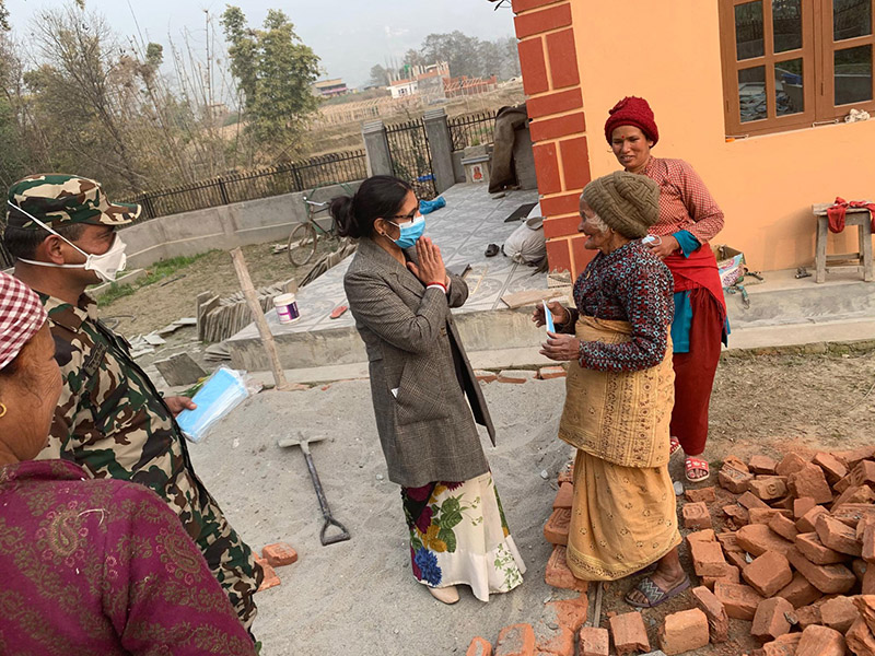 Chief District Officer of Bhaktapur, Homkala Pandey, visiting locals around Kharipati area to spread awareness about the new coronavirus (COVID-19) and about those being quarantined in Karipati, in an attempt to remove the fear that has gripped the locals and to inform them about safety measures, in Bhaktapur, on Tuesday, February 18, 2020. Photo: RSS