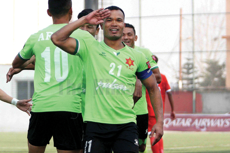 Bharat Khawas skipper of Tribhuvan Army Club gestures to celebrate goal against Brigade Boys Club during their Qatar Airways Martyr's Memorial A Division League match at ANFA ground in Lalitpur on Tuesday. Photo: Udipt Singh Chhetry