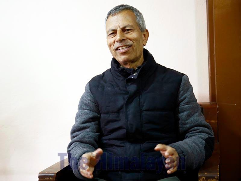 Interview with education expert Bidhyanath Koirala, on Saturday, February 15, 2020. Photo: Skanda Gautam/THT
