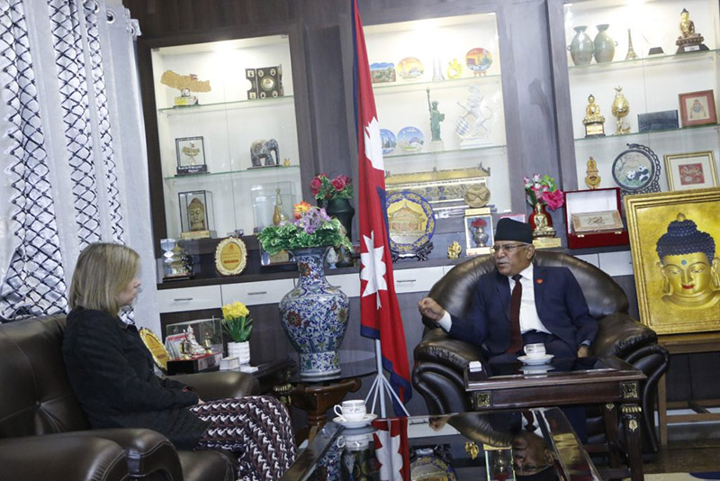 Newly-appointed British Ambassador to Nepal Nicola Pollitt meets with Co-chair of Nepal Communist Party (NCP) Pushpa Kamal Dahal, at the latter's residence, in Khumaltar, Lalitpur, on Thursday, February 6, 2020. Photo Courtesy: cmprachanda.com