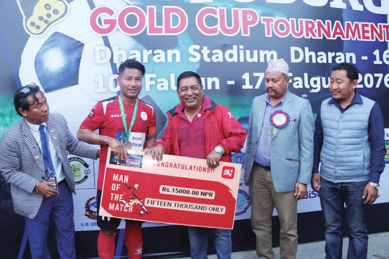 NPC skipper Jumanu Rai receiving the man-of-the-match award after the 22nd Budhasubba Tuborg Gold Cup match against Kakarvitta in Dharan on Sunday. Photo: THT