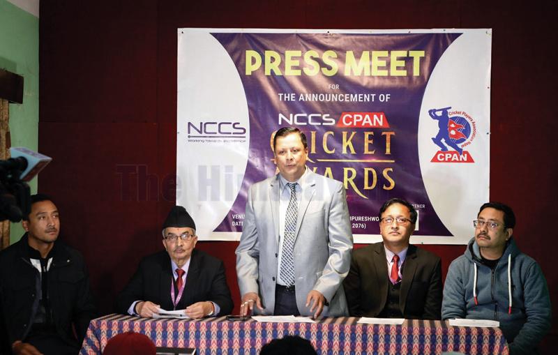 CPAN President Manish Raj Pandey (centre) speaks during a press meet in Kathmandu on Sunday. Photo: THT