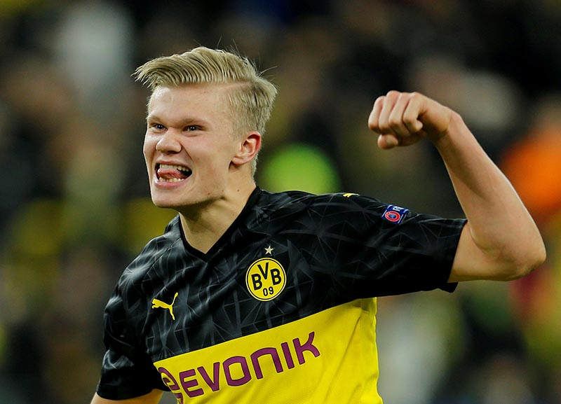 Borussia Dortmund's Erling Braut Haaland celebrates after the match during the Champions League Round of 16 First Leg match between Borussia Dortmund and Paris St Germain, at Signal Iduna Park, in Dortmund, Germany, on February 18, 2020. Photo: Reuters