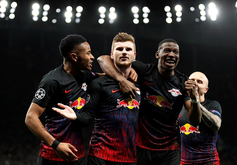 RB Leipzig's Timo Werner celebrates scoring their first goal with teammates during the Champions League  Round of 16 First Leg match between Tottenham Hotspur and RB Leipzig, at Tottenham Hotspur Stadium, in London, Britain, on February 19, 2020. Photo: Action Images via Reuters