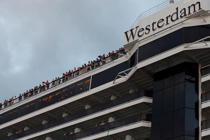 MS Westerdam, a cruise ship that spent two weeks at sea after being turned away by five countries over fears that someone aboard might have the coronavirus is seen in Sihanoukville, Cambodia February 14, 2020. Photo: Reuters