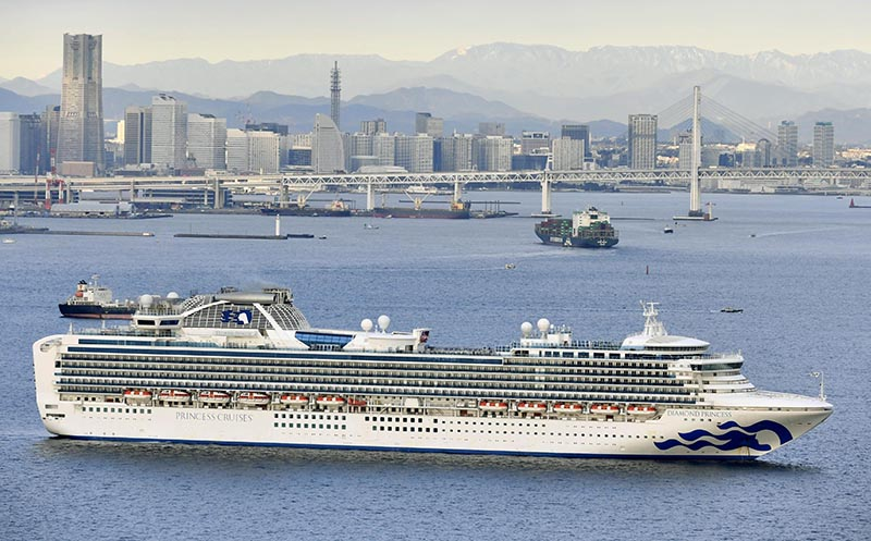 Cruise ship Diamond Princess anchored off the Yokohama Port, is pictured in Yokohama, Japan, on February 4, 2020. Photo: Kyodo/via Reuters