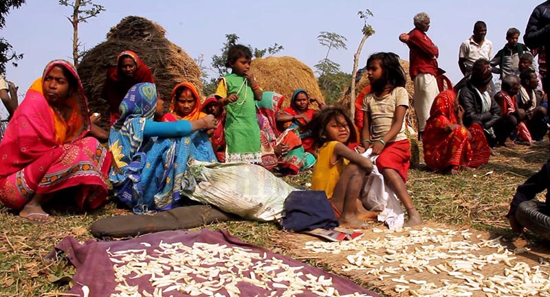 Dalit Musahar families left in the lurch after their houses were pulled down at Belhi Chapena of Rajgadh Rural Municipality, Saptari, on Wednesday. Photo: THT