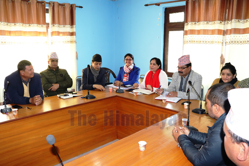 Representatives from Social Security Division of the Department of Health Services, Dhangadhi Sub-Metropolitan City, and concerned schools, during the meeting, on Wednesday, February 05, 2020. Photo: Tekendra Deuba/THT