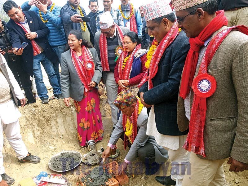 Foundation stone for construction of integrated settlement being laid, in Dolakha, on Thursday, February 20, 2020. Photo: THT
