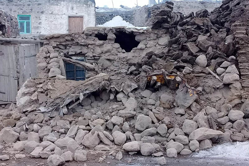 Houses are reduced to rubble after an earthquake hit villages in Baskale in Van province, Turkey, at the border with Iran, Sunday, Feb. 23, 2020. Photo: AP
