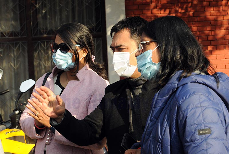 Family members of Nepalis stranded in Hubei staging a protest demanding their early evacuation from Chinau2019s Hubei province, in Kathmandu, on Monday. Photo: Balkrishna Thapa/ THT