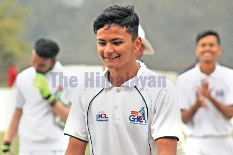 Ariyo Poudel of Wai Wai GHCA after taking seven wickets against Nexus Cricket Academy on Tuesday. Photo: THT