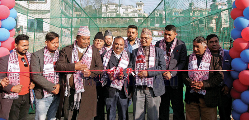 Province Assembly Member of Bagmati Province Madhav Paudel (right) and Senior General Manager of Chaudhary Group Lal Babu Prasad cutting the ribbon during the inauguration of the Wai Wai Great Himalaya Cricket Academy in Lalitpur on Friday. Photo: Udipt Singh Chhetry/THT