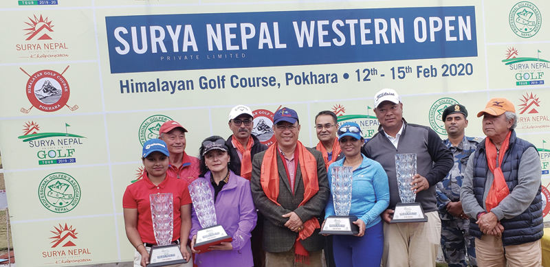 Winning team members of the Surya Nepal Western Open Pro-Am pose for a group photo with officials at the Himalayan Golf Course in Pokhara on Saturday. Photo courtesy: NPGA