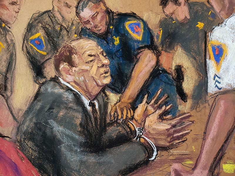 Film producer Harvey Weinstein is handcuffed after his guilty verdict in his sexual assault trial in the Manhattan borough of New York City, New York, US, February 24, 2020 in this courtroom sketch. Photo: Reuters