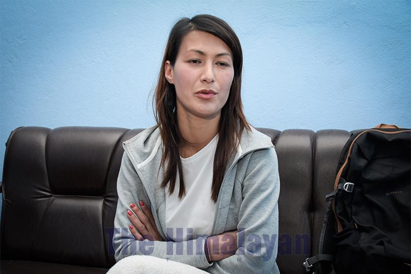 This image shows Hima Shrestha at her rented room in Gaurighat, Kathmandu, on Friday, February 28, 2020. Shrestha was mercelissly beaten up by Police Inspector Devi Prasad Paudel at Metropolitan Police Range, Jawalakhel. She along with her 10-month-old baby were forced in a lock-up for six hours. Photo: Naresh Shrestha/THT