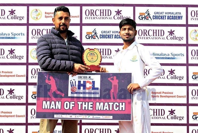 Tilak Bhandari of KCTC receiving the man-of-the-match award from Wai Wai GHCA President Sudeep Sharma (left) after the second Himalaya Cricket League match against Baluwatar Cricket Club at the Mulpani grounds in Kathmandu on Monday. Photo: THT
