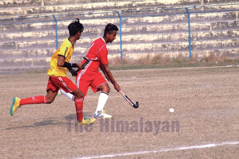 Players in action during the second Girija Prasad Koirala Memorial National Hockey Tournament in Biratnagar. Photo: THT