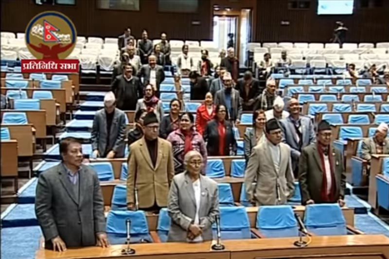 Nepali Congress lawmakers obstruct proceedings of the House of Representatives for the third day, at parliament, in Kathmandu, on Sunday, February 9, 2020. Photo: Screenshot of Parliament live broadcast/Youtube