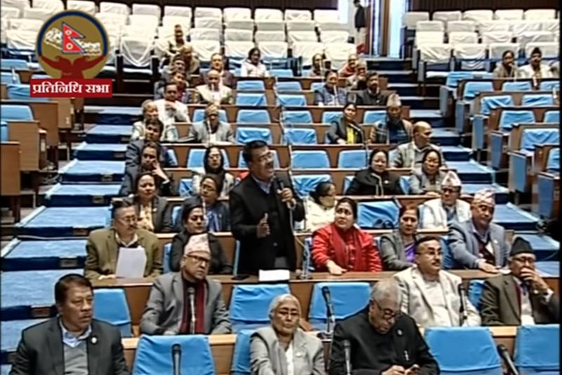 Nepali Congress lawmakers obstruct proceedings of the House of Representatives for the second day, at parliament, in Kathmandu, on Friday, February 7, 2020. Photo: Screenshot of Parliament live broadcast/Youtube