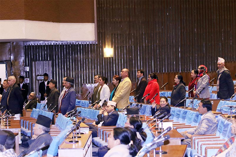 Nepali Congress lawmakers obstructing proceeding of the House of Representatives by standing up from their seats,  demanding information regarding the Baskota audiotape scandal, in Kathmandu, on Thursday, February 20, 2020. Photo: THT