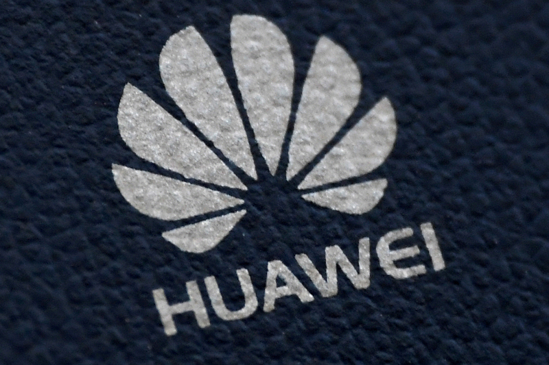 The Huawei logo is seen on a communications device in London, Britain, January 28, 2020. Photo: Reuters/File