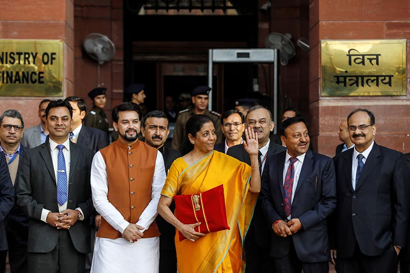 India's Finance Minister Nirmala Sitharaman holds budget papers as she leaves her office to present the federal budget in the parliament in New Delhi, India, February 1, 2020. Photo: Reuters