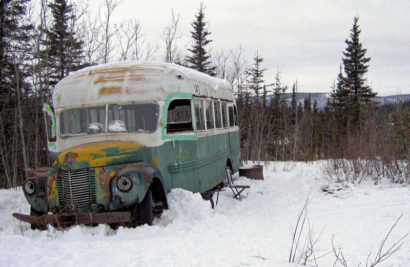 This March 21, 2006, file photo, shows the abandoned bus where Christopher McCandless starved to death in 1992 on Stampede Road near Healy, Alaska. For more than a quarter-century, the old bus abandoned in Alaska's punishing wilderness has drawn adventurers seeking to retrace the steps of a young idealist who met a tragic death in the derelict vehicle. Scores of travelers following his journey along the Stampede Trail have been rescued and others have died in the harsh back-country terrain. Now families of some of those who died are proposing looking at building a footbridge over the Teklanika River. Photo: AP