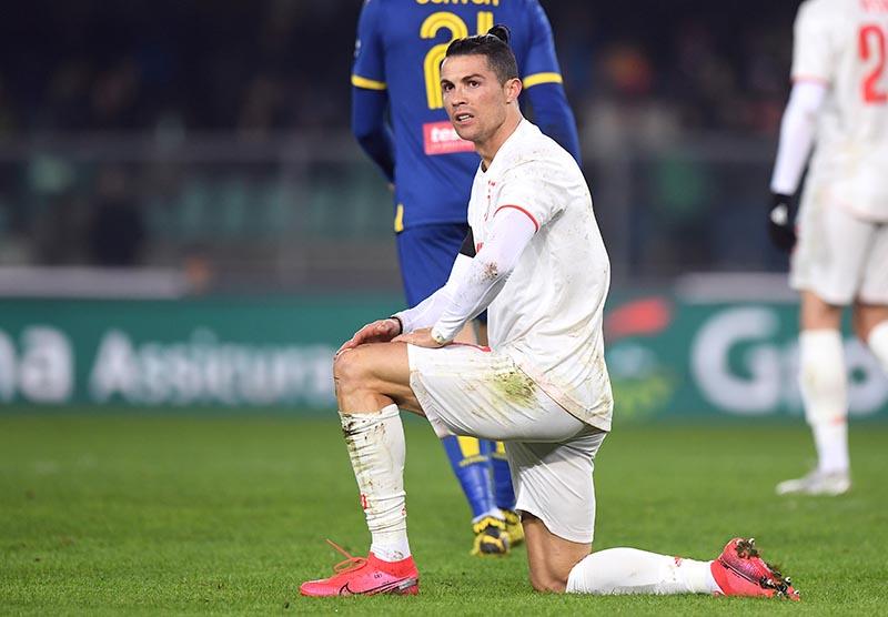 Juventus' Cristiano Ronaldo reacts during the Serie A match between Hellas Verona and Juventus, at Stadio Marc'Antonio Bentegodi, in Verona, Italy, on February 8, 2020. Photo: Reuters