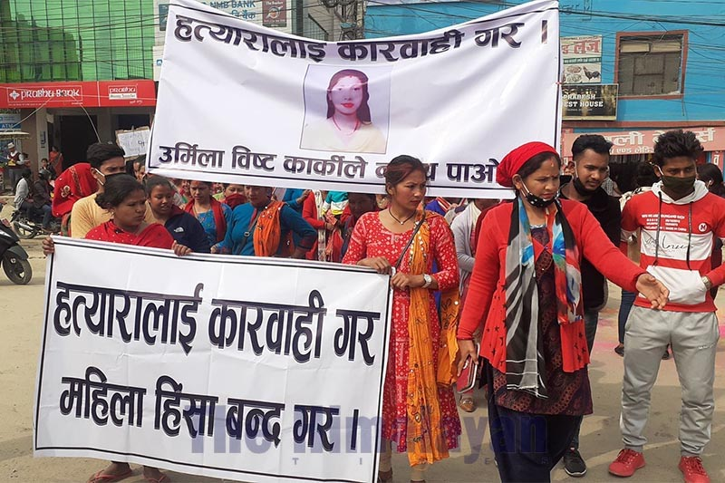 Women taking out a rally demanding justice for Urmila, who was found dead on Feb 1, in Dhangadi,  on Thursday, February 20, 2020. Photo: THT