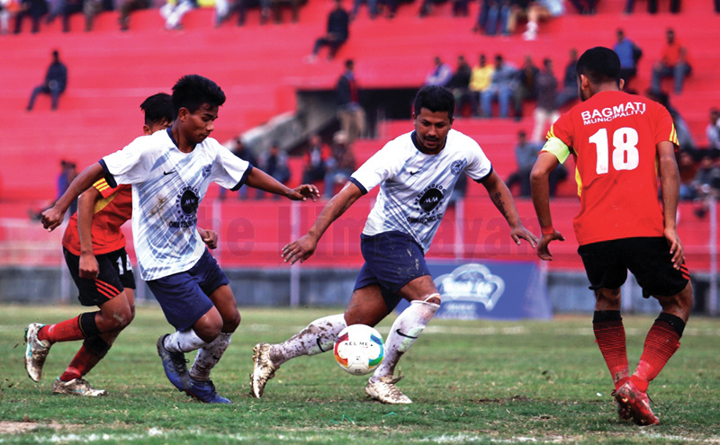 Action in the match between Kanchenjunga Football Club (centre) and Bagmati Youth Club during the fourth Nepal Ice Sudurpashchim International Invitational Khaptad Gold Cup at the Dhangadhi Stadium on Friday. Photo: THT