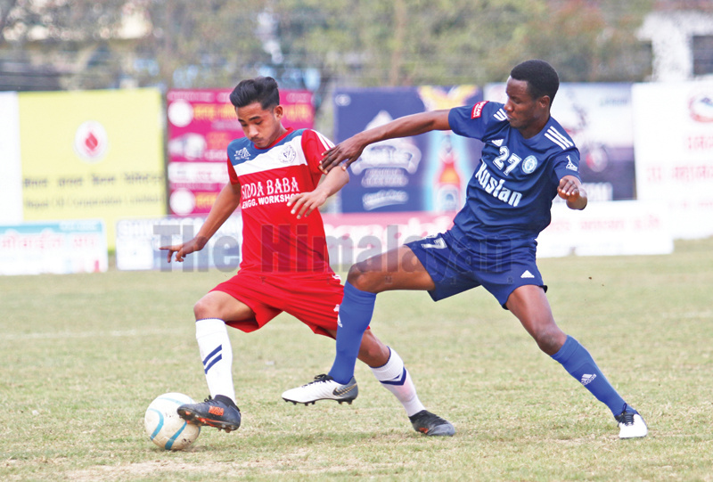 Action in the match between Ruslan TSC (right) and Nava Janajagriti YC during the Nepal Ice Sudurpashchim Khaptad Gold Cup in Dhangadhi, on Wednesday. Photo: THT