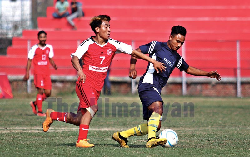 Action in the match between Gorkha Boys Club and Sunaulo Sangam Youth Club (right) during the Nepal Ice Sudurpashchim Khaptad Gold Cup in Dhangadhi, on Monday. Photo: THT