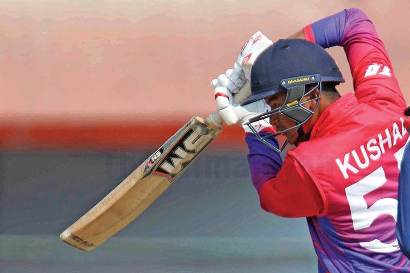 Kushal Malla batting against the US during the ICC Menu2019s Cricket World Cup League 2 Tri-Nation Series at TU Cricket Stadium, in Kathmandu, on Saturday. Photo: Udipt Singh Chhetry/ THT